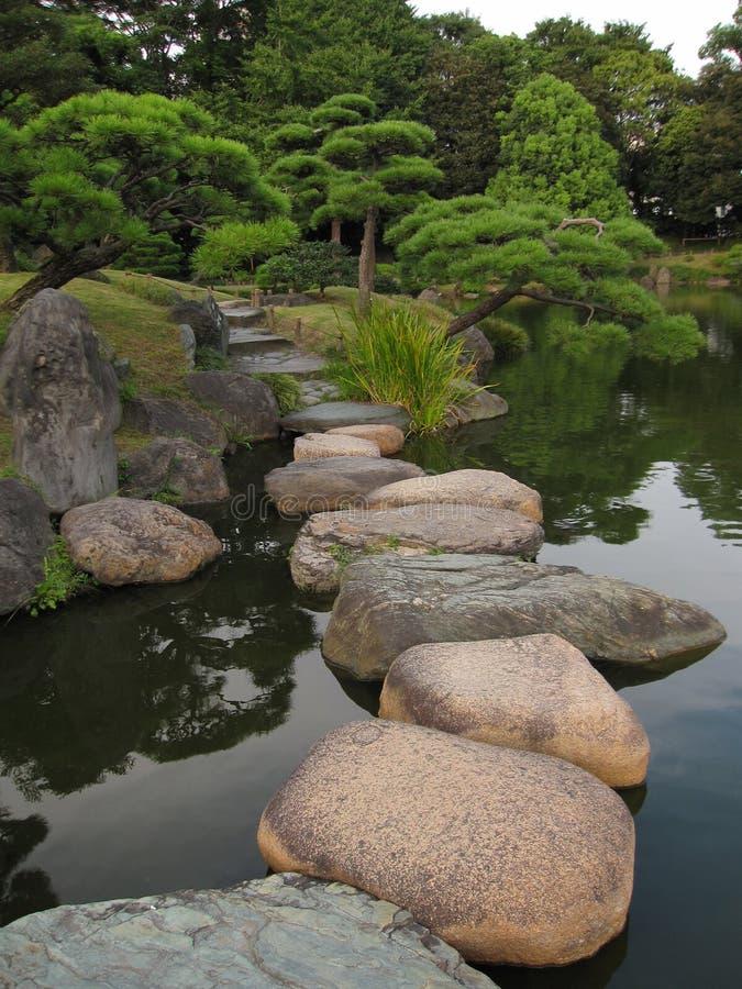 Traditionell japanträdgård med att kliva stenbanor arkivbilder