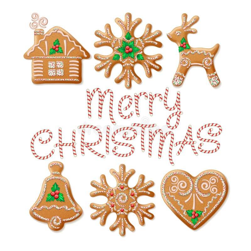 Traditionell jul för utsmyckad realistisk uppsättning royaltyfri illustrationer