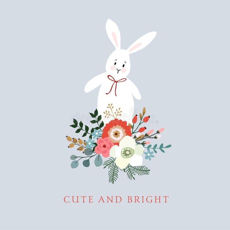 Traditionell jul, hälsningkort för nytt år, inbjudan Räcka den utdragna illustrationen av gullig kanin, kanin Blom- bukett som gö stock illustrationer