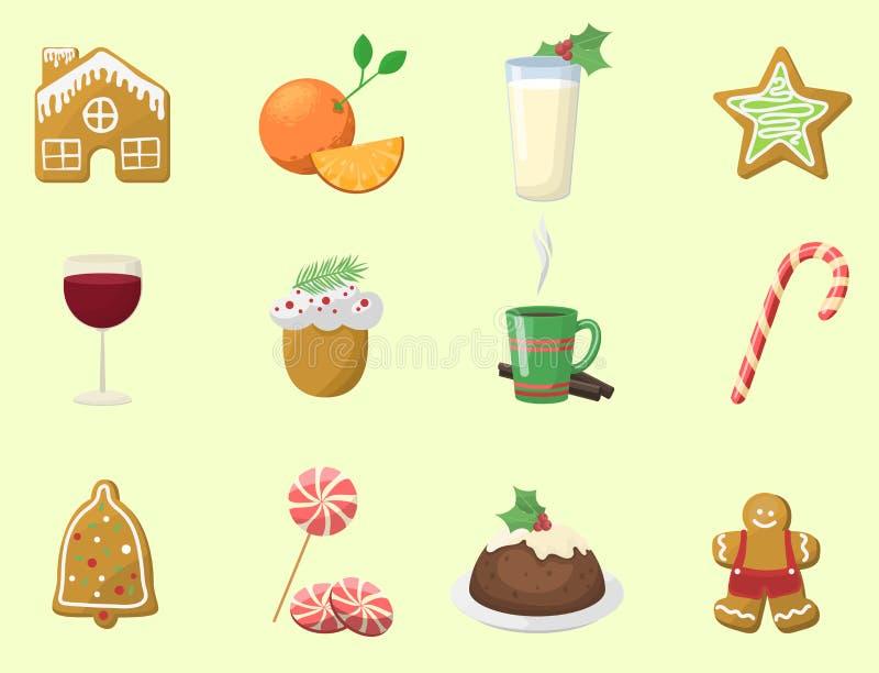 Traditionell jul mat och efterrätter semestrar illustrationen för vektorn för mål för beröm för garneringxmas den söta royaltyfri illustrationer