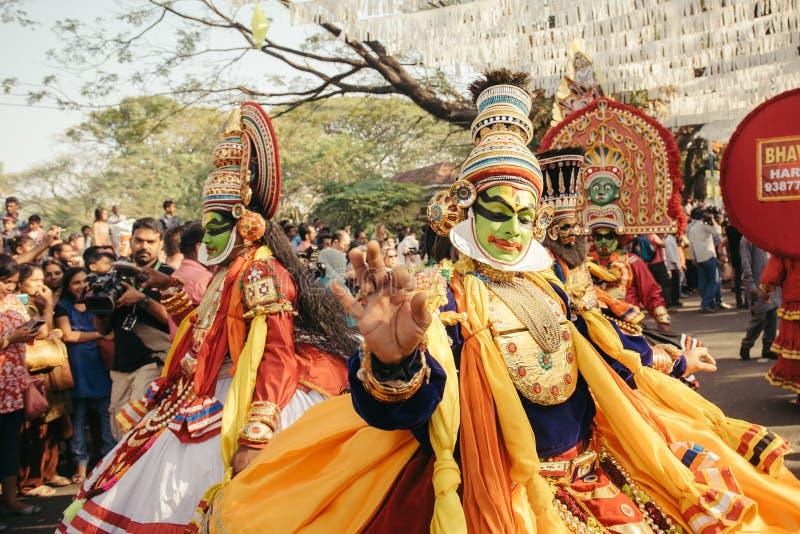 Traditionell Kathakali dans på karneval för nytt år royaltyfri foto