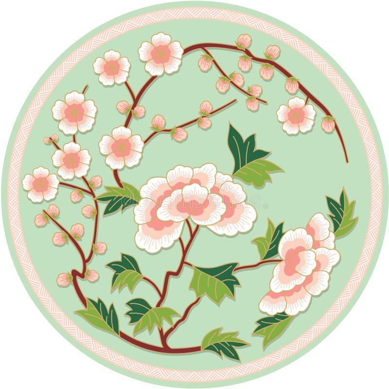 traditionell kinesisk blom- modell vektor illustrationer