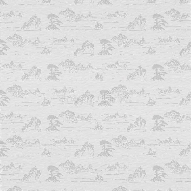 Traditionell kinesisk landskapPaingting bakgrund, berg och moln stock illustrationer