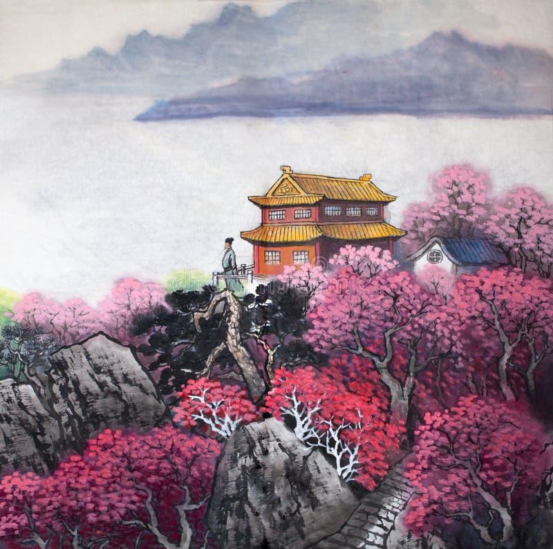 traditionell kinesisk målning royaltyfri illustrationer
