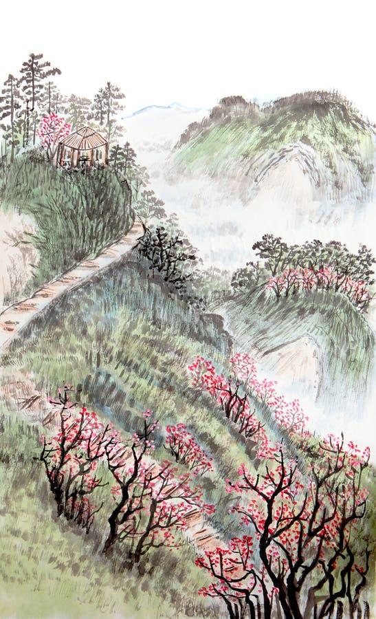 Traditionell kinesisk målning, landskap royaltyfri foto