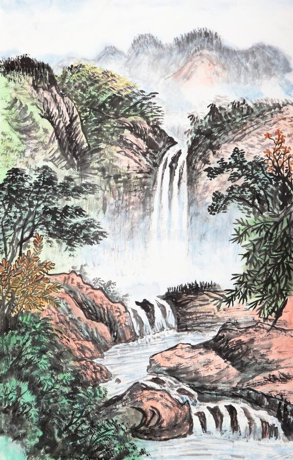 Traditionell kinesisk målning, landskap arkivfoton