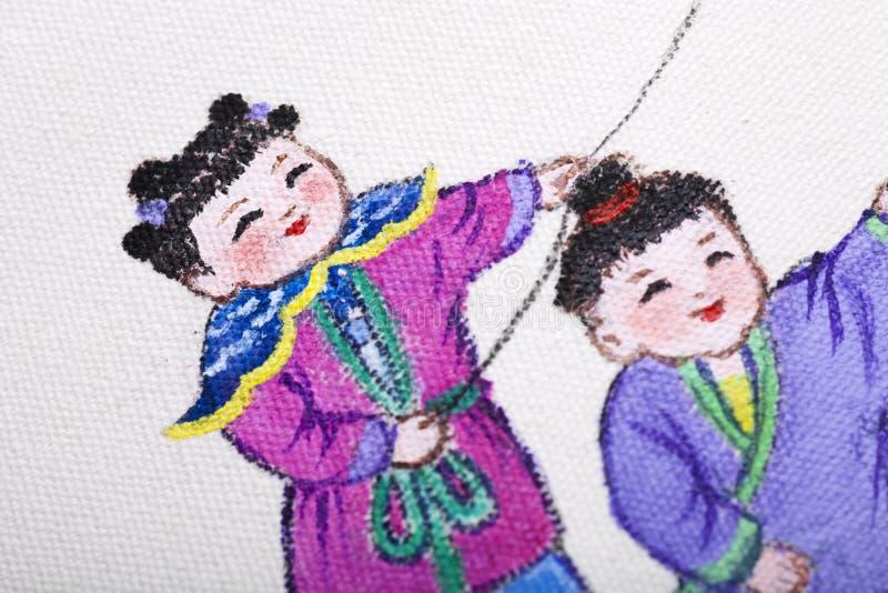 Traditionell kinesisk målning på kanfas arkivfoto