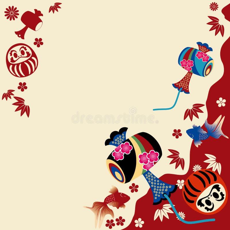 traditionell kortjapan royaltyfri illustrationer
