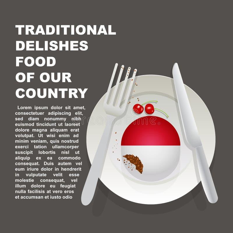 Traditionell läcker mat av den Monaco landsaffischen Europeisk nationell efterrätt Vektorillustrationkaka med nationsflaggan av m stock illustrationer
