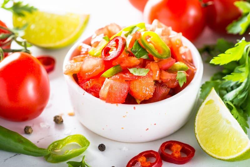 Traditionell latin - amerikansk mexikansk salsasås på vit royaltyfri bild