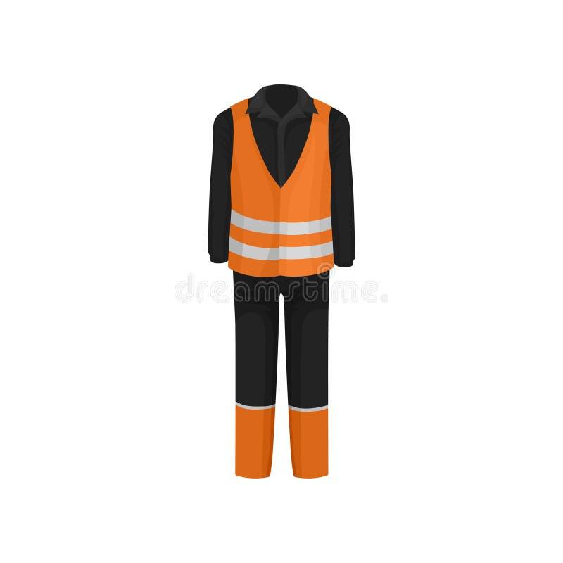 Traditionell likformig av vägarbetaren Svart omslag, flåsanden och orange väst med reflekterande band Plan vektordesign stock illustrationer