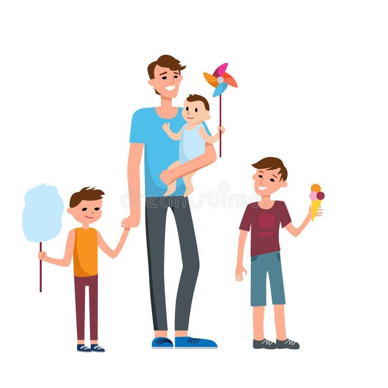 Traditionell lycklig familj stock illustrationer