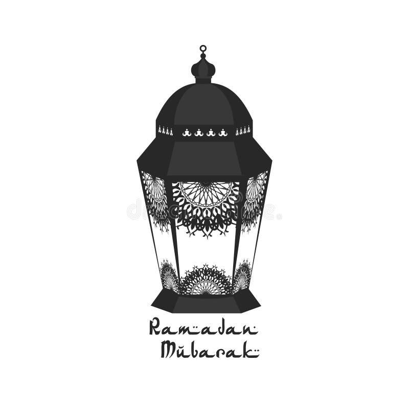 Traditionell lykta av Ramadansymbolen på vit backcround '' Ramadankareem '', också vektor för coreldrawillustration vektor illustrationer