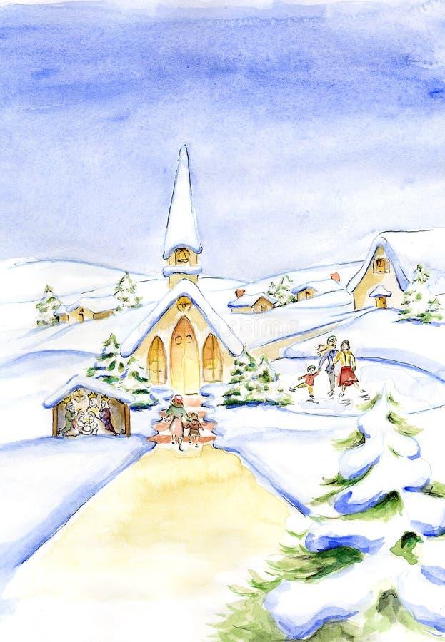 Traditionell målning julEve Watercolor för gammalt mode royaltyfri illustrationer