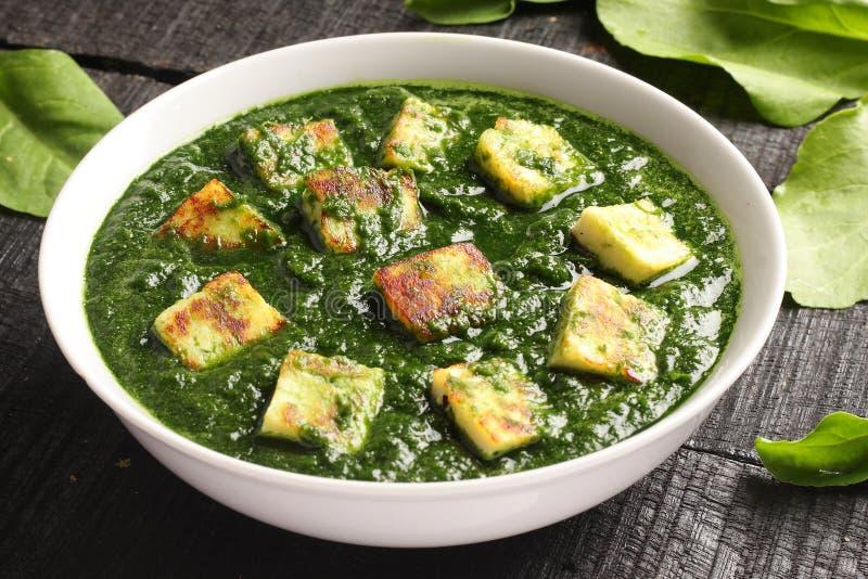 Traditionell maträtt för PunjabiPalak paneer arkivbilder