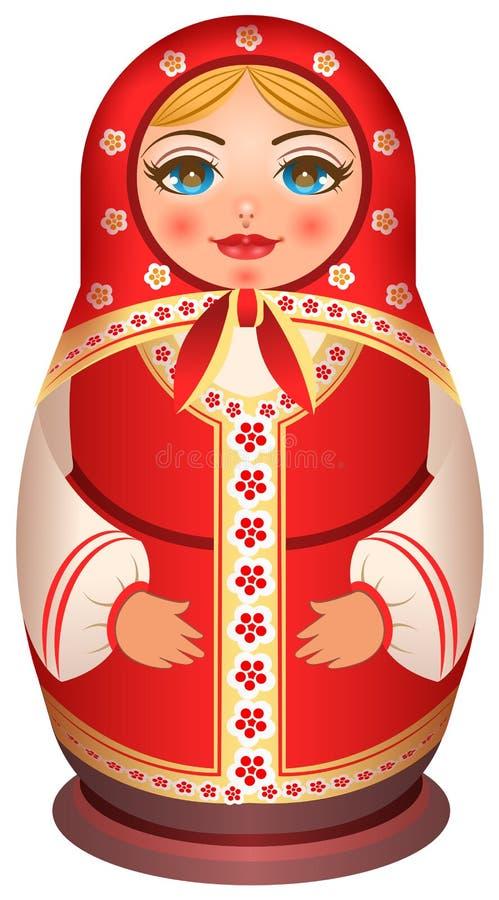 Traditionell medborgare målat trä av den ryska dockan royaltyfri illustrationer