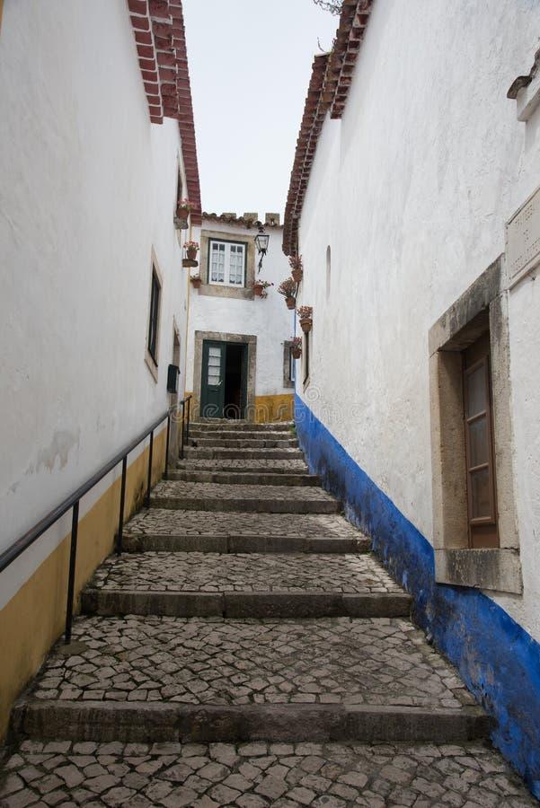 Traditionell medeltida gata i Obidos, Portugal arkivfoton