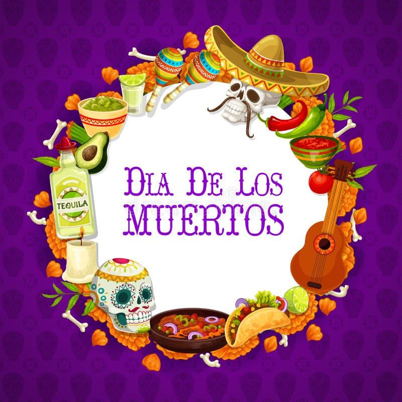 Traditionell mexikansk teckenram för diameter de los muertos stock illustrationer