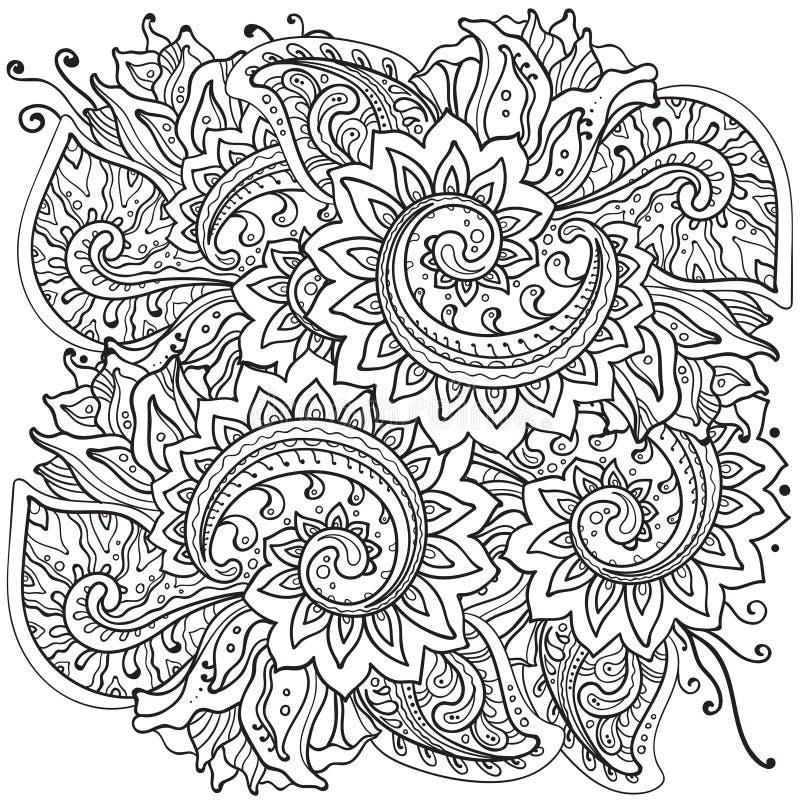Traditionell orientalisk blom- prydnad med mycket detalj vektor illustrationer