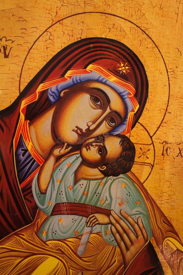 Traditionell ortodox symbol av modern Mary royaltyfri bild