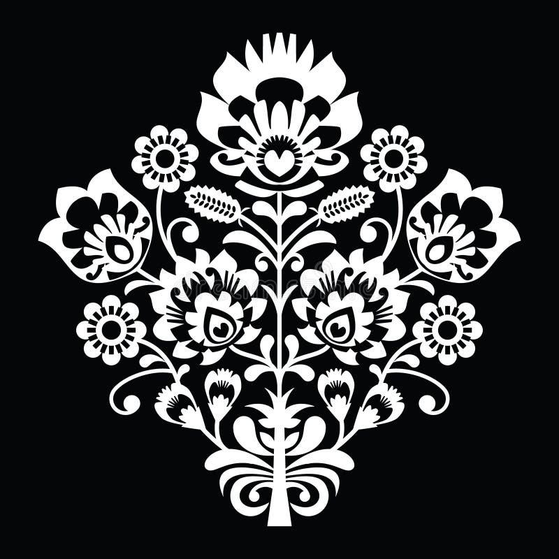 Traditionell polsk folkkonstmodell på svart - wzory lowickie, wycinanki vektor illustrationer