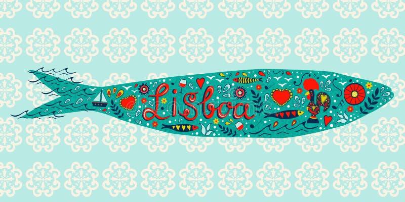 Traditionell portugisisk sardin med tipical symboler vektor illustrationer