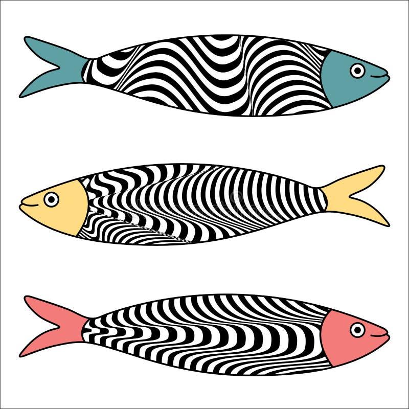 Traditionell portugisisk symbol Kulöra sardiner med typiska Portu stock illustrationer