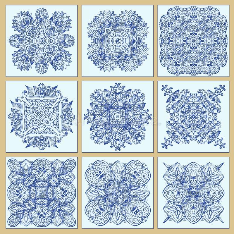Traditionell portugisisk tegelplattaazulejosuppsättning stock illustrationer