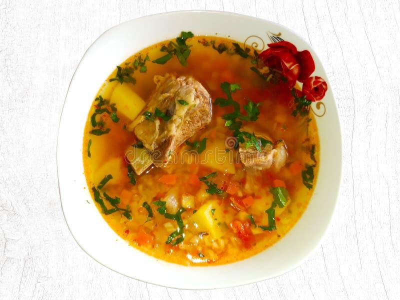 Traditionell rumänsk nötköttsoppa med grönsaker royaltyfria foton