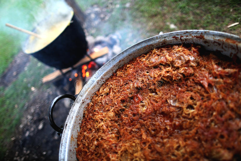 Traditionell rumänsk mat, sarmale arkivfoton