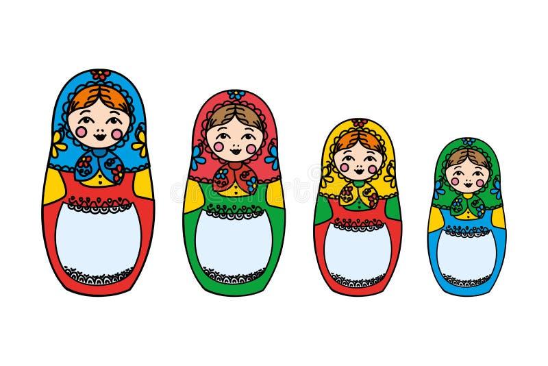 Traditionell rysk dockamatreshka som isoleras på vit bakgrund royaltyfri illustrationer