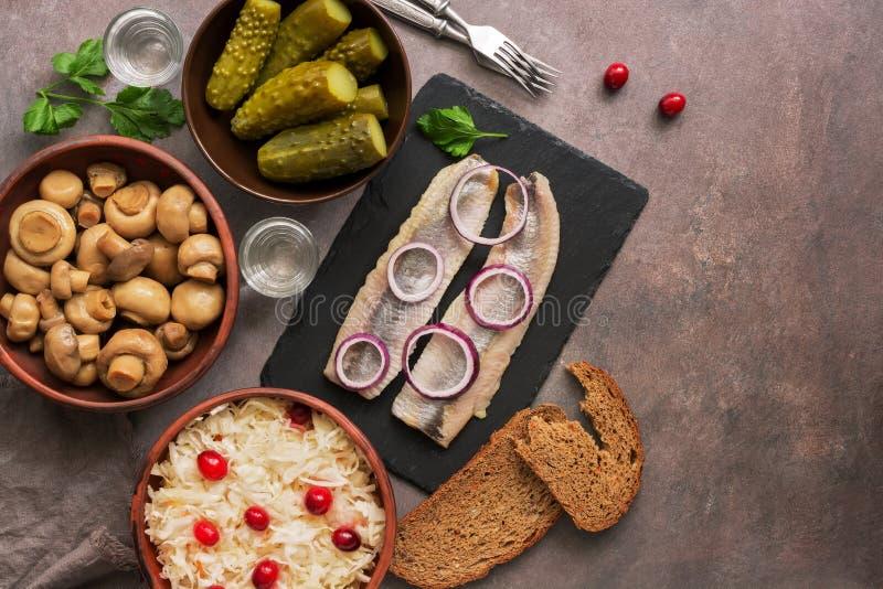 Traditionell rysk mellanmål och vodka, surkål med tranbär, sill, inlagda gurkor, inlagda champinjoner och rågbröd på arkivbilder