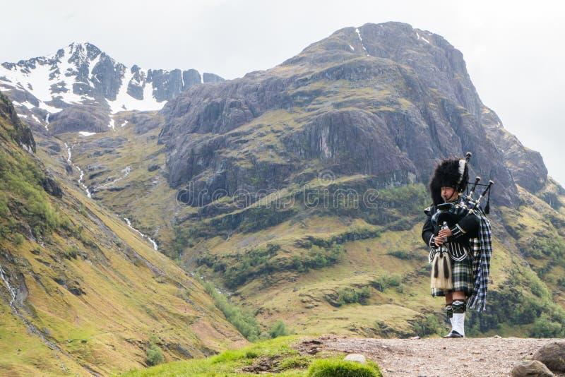 Traditionell säckpipeblåsare i de skotska högländerna royaltyfri fotografi