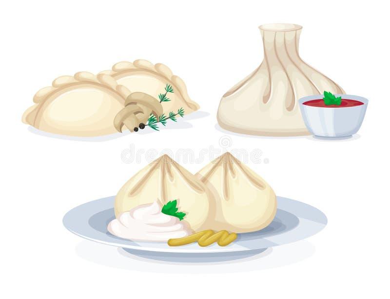 Traditionell smaklig disk för vareniki för matmantaskhinkali från kött stock illustrationer