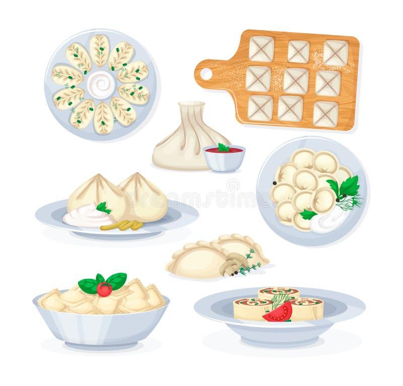 Traditionell smaklig vareniki för kurze för khinkali för ravioli för matklimpmantas royaltyfri illustrationer