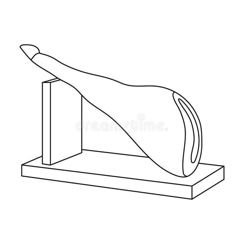 Traditionell spansk jamonsymbol i översiktsstil som isoleras på vit bakgrund vektor illustrationer