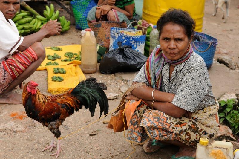 Traditionell stam- marknad på en ö Timor, Indonesien royaltyfri bild