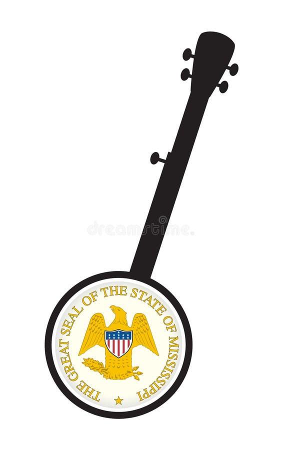 Traditionell 5 String Banjo Silhouette med siffersippi statsikon royaltyfri illustrationer