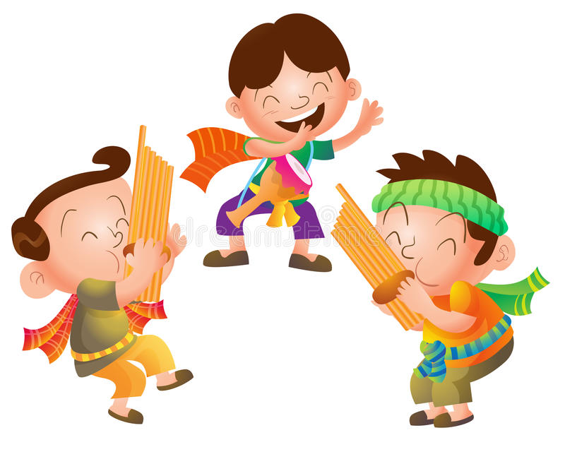 Traditionell thailändsk musikergrupp vektor illustrationer
