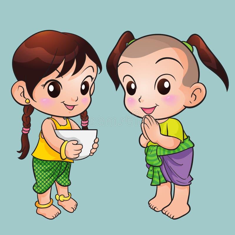 Traditionell thailändsk pojke och flicka stock illustrationer
