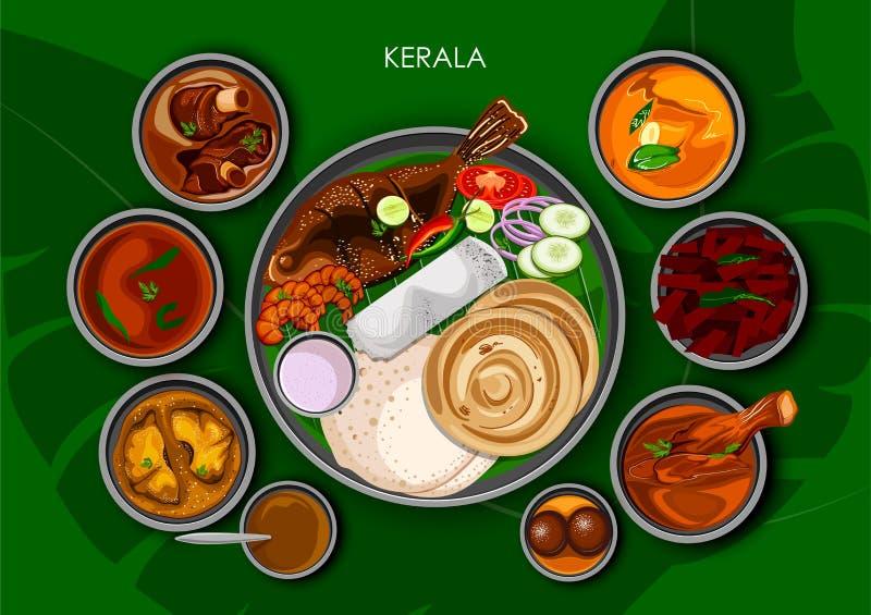 Traditionell thali för Keralite kokkonst- och matmål av Kerala royaltyfri illustrationer