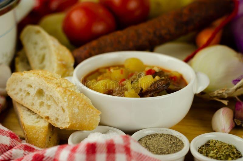 Traditionell ungersk gulasch med nötkött, potatisar, tomater och peppar, en smaklig maträtt i en vit bunke arkivbild