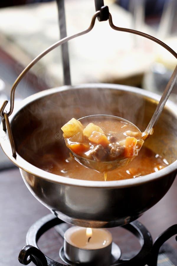 Traditionell ungersk hemlagad varm gulaschsoppa royaltyfria bilder