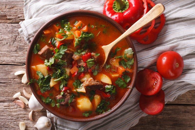 Traditionell ungersk närbild för bogracs för gulaschsoppa i en bunke H royaltyfria bilder