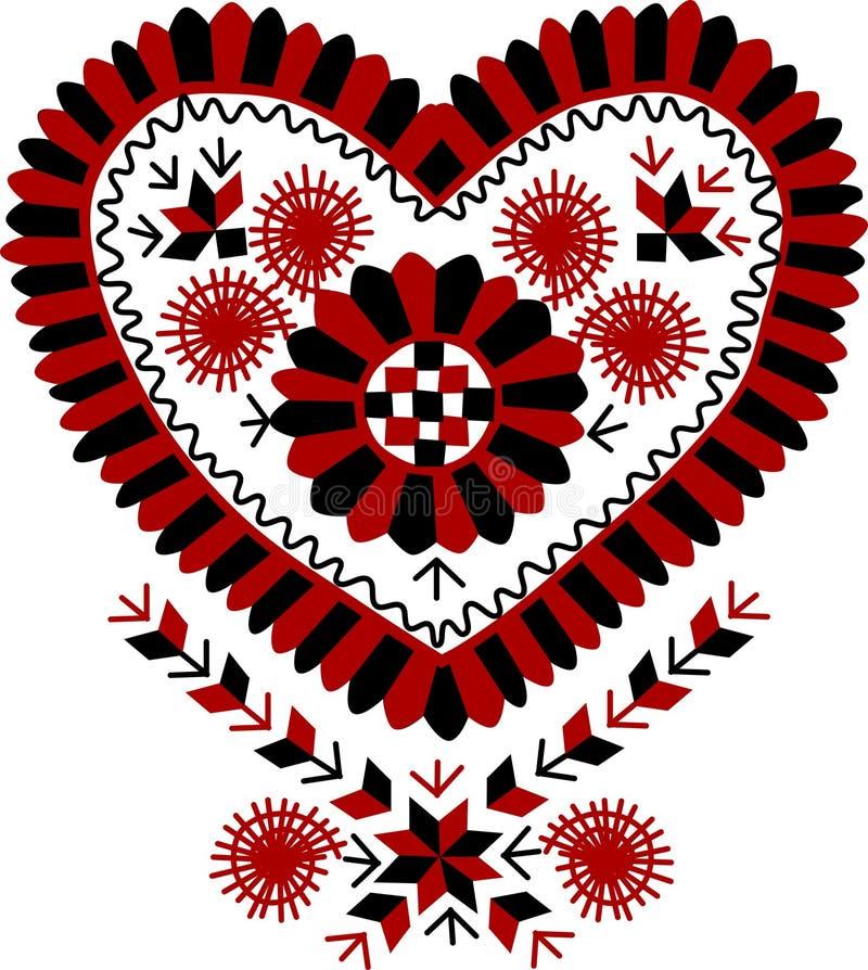Traditionell ungersk tappning hjärta-formad broderimodell vektor illustrationer