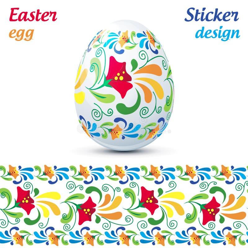 Traditionell utsmyckad easter äggklistermärke stock illustrationer