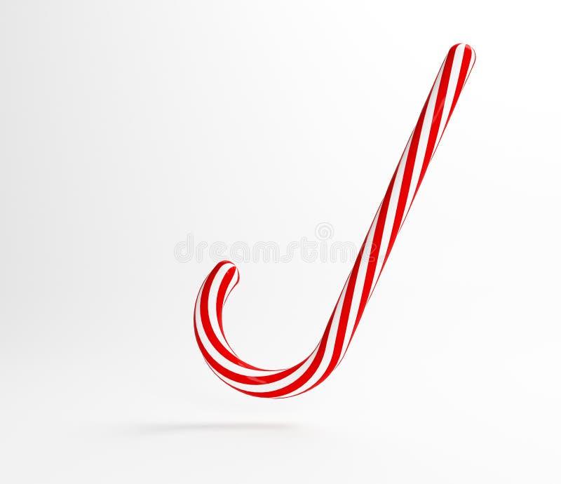 Traditionell vit för illustration och röd lolipop Röd godis för jul framförande 3d royaltyfri illustrationer