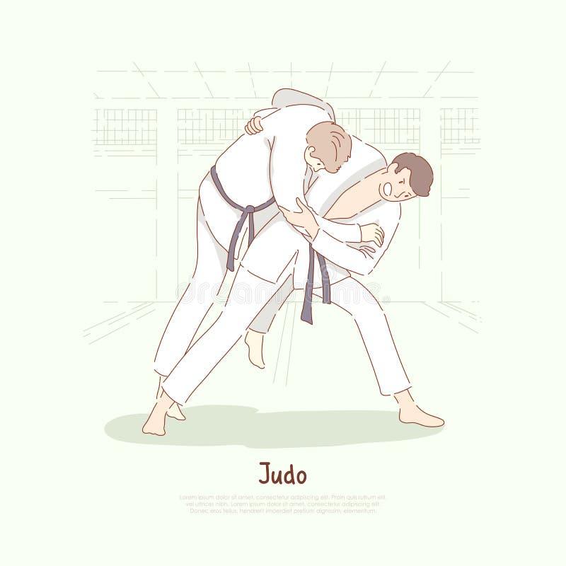 Traditionella asiatiska kampsporter som munhuggas, unga män i den övande footboarden för kimono, själv - försvar, judoskolabaner vektor illustrationer