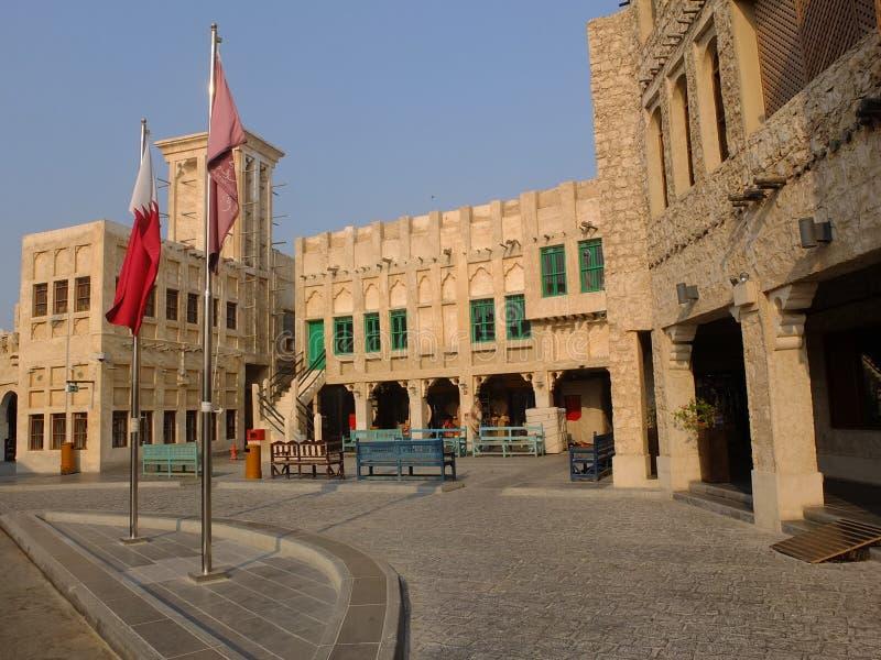 Traditionella byggnader Doha Qatar arkivfoto