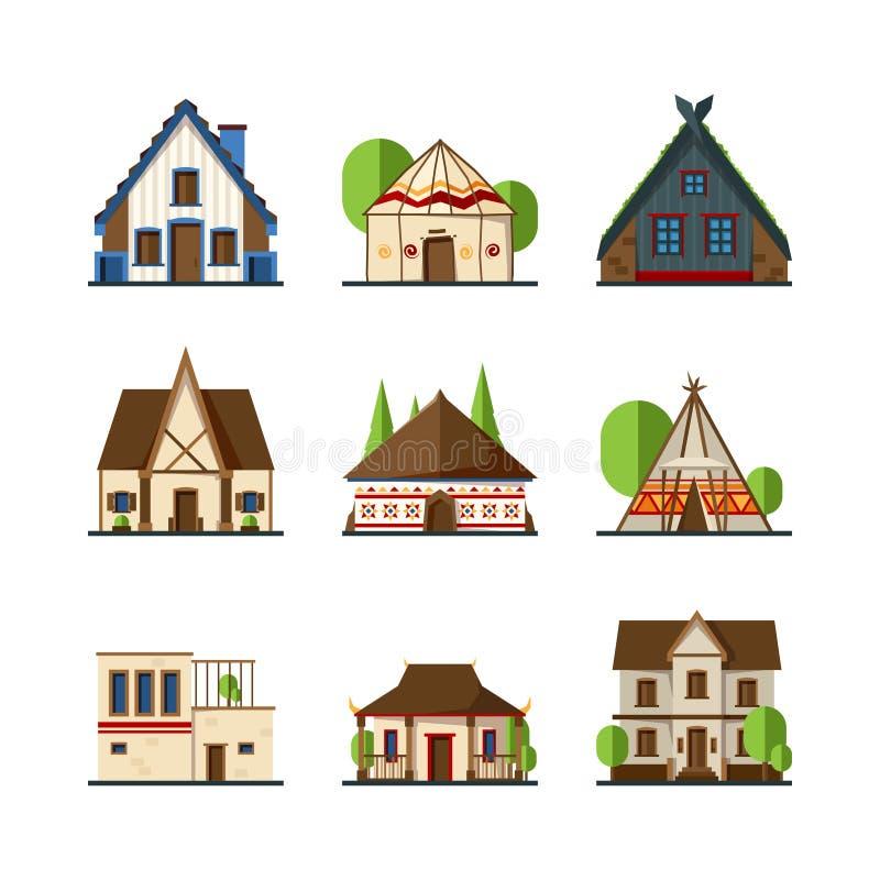 traditionella byggnader Hus och konstruktioner av vektorer för tält för olik landsEuropa asiat indiska afrikanska stock illustrationer